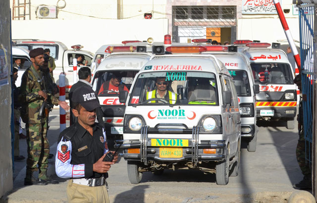 ambulances arrive to take the dead from the hospital to be buried after they were killed in an attack on a police training centre near quetta october 25 2016 photo reuters