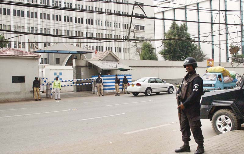 following the attack on a police training centre in quetta the sindh government has strengthened security measures outside central police office in karachi photo online