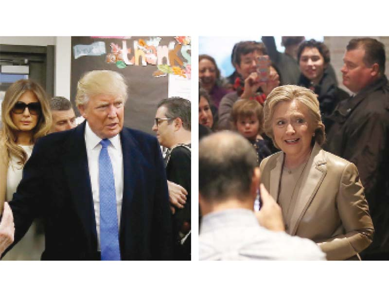 presidential candidates donald trump and hillary clinton cast their votes in new york photo reuters afp