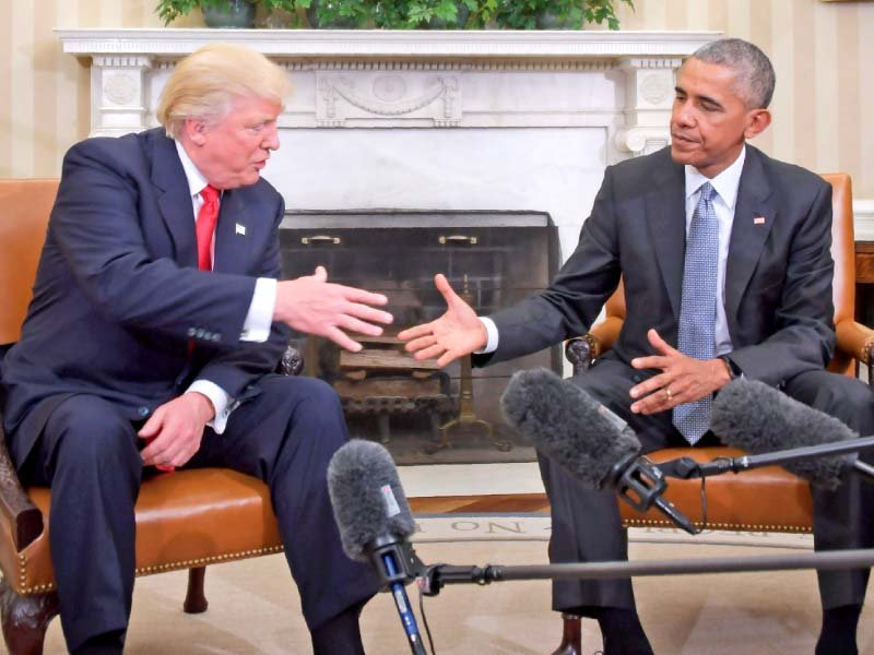 Donald Trump meets Barack Obama for the first time at the White House. PHOTO: AFP