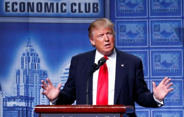 Republican US presidential nominee Donald Trump speaks to the Detroit Economic Club at the Cobo Center in Detroit, Michigan August 8, 2016. PHOTO: REUTERS