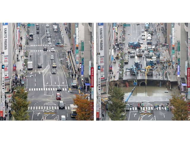 japan street swallowed by giant hole reopens