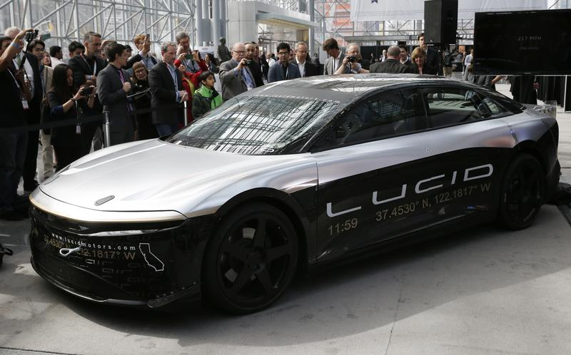 the lucid air speed test car is displayed at the 2017 new york international auto show in new york city us april 13 2017 photo reuters