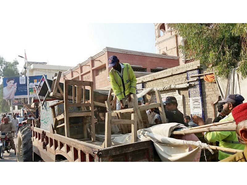 free space sukkur police determined to clear city of encroachments