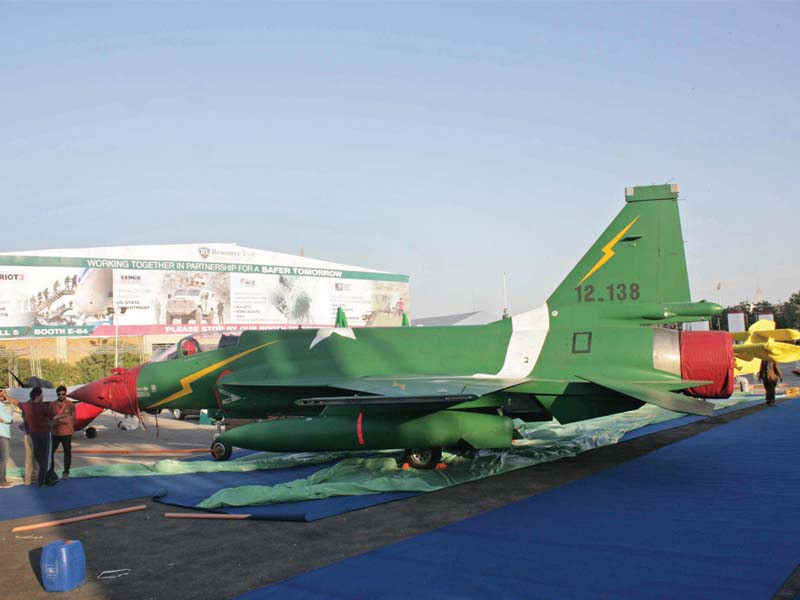 A JF-17 on display ahead of the IDEAS 2016 at Expo Centre. PHOTO: MOHAMMAD NOMAN/EXPRESS