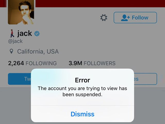 for about 15 minutes those trying to access dorsey 039 s account received a message stating that the account was suspended photo twitter bakedalaska