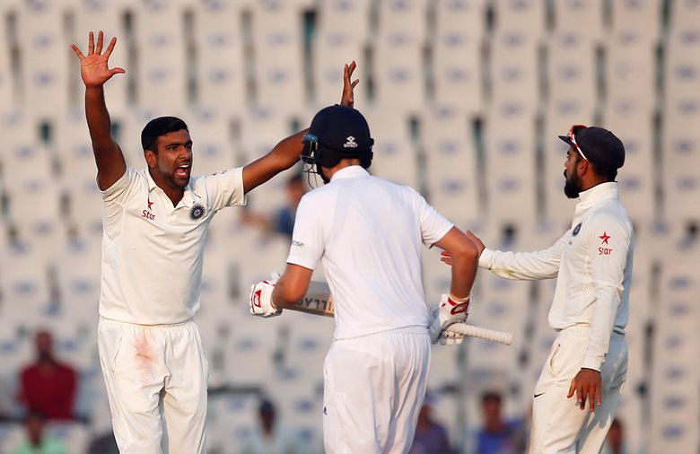 india 039 s ravichandran ashwin l appeals successfully for the dismissal of england 039 s ben stokes on november 28 2016 photo reuters