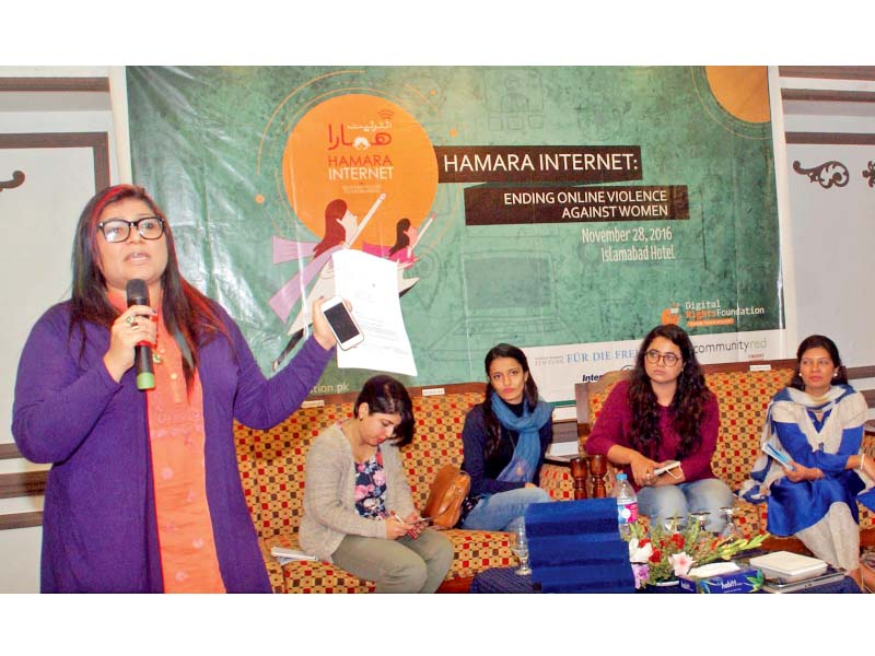 DRF's Nighat Dad speaks at a seminar on online violence against women. PHOTO: INP