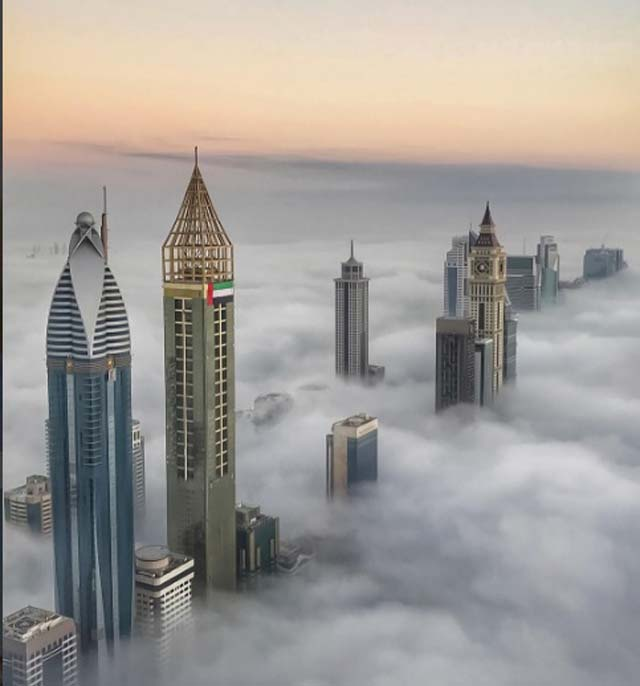 crown prince captures stunning footage of dubai blanketed in clouds