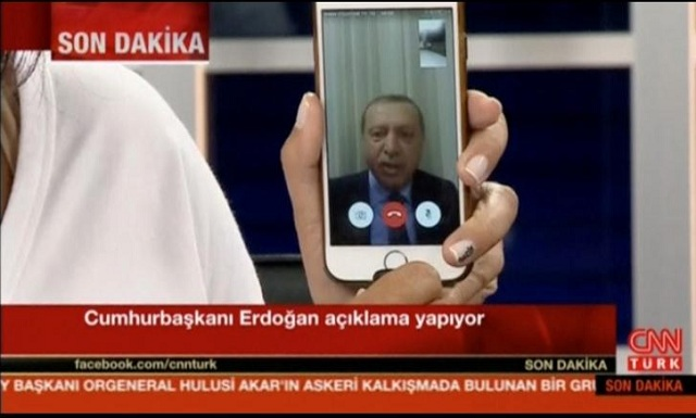 Still frame taken from video shows Turkey's President Tayyip Erdogan speaking via a Facetime video connection to address the nation during an attempted coup, in Marmais, Turkey. PHOTO: CNN TURK/REUTERS