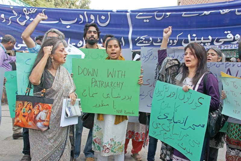led by sheema kermani activists belonging to national students federation karachi and other groups gathered at arts council to make their voice heard against ansari who is facing investigations on charges of sexual harassment in the sindh ombudsman secretariat photo ayesha mir express