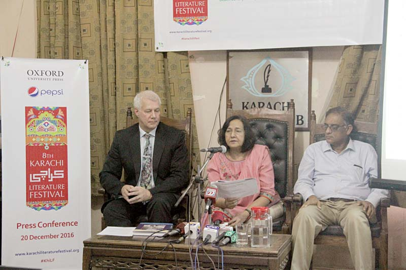 karachi literature festival co founders asif farrukhi and ameena saiyid and german consul general rainer schmiedchen addressed a press conference organised to announce the books in the running for prizes at the klf photo ayesha mir express