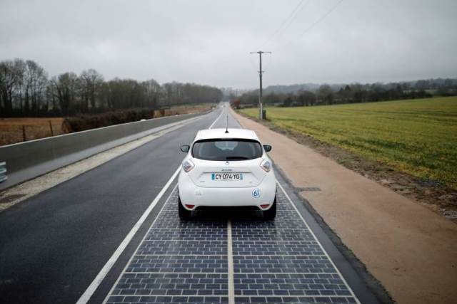 in first road paved with solar panels powers french town