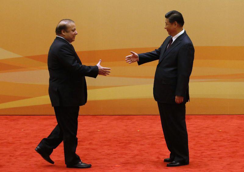 Prime Minister Nawaz Sharif meets Chinese President Xi Jinping. PHOTO: REUTERS