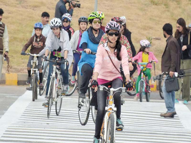 girls riding cycles at the inaugural ceremony of bicycle lane in islamabad on november 13 photo file