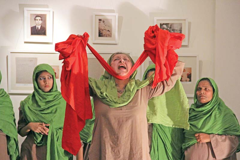 sangat a feminist people s theatre and music group from lahore performed chog kusambey di at the second floor on thursday night photo ayesha mir express