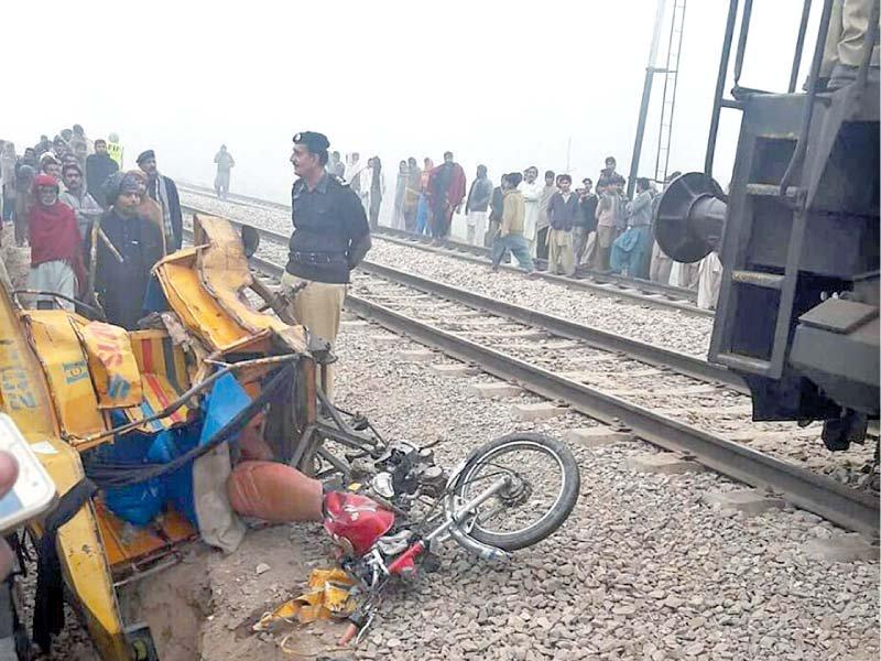 a motorised rickshaw lies mangled after the deadly crash in lodhran photo app