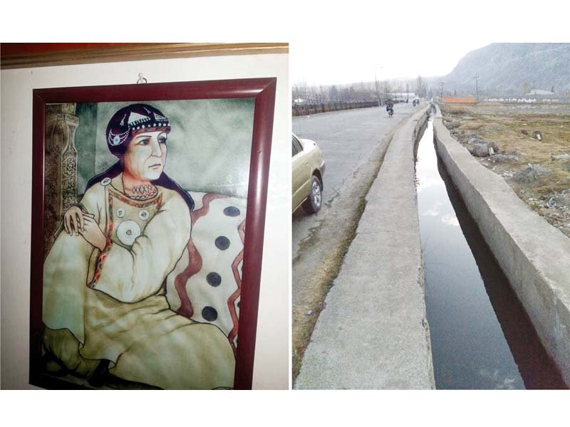 portrait of dadi jawari a 17th century ruler of gilgit and one of the two irrigation channels she got built between 1630 and 1660 ad photo express