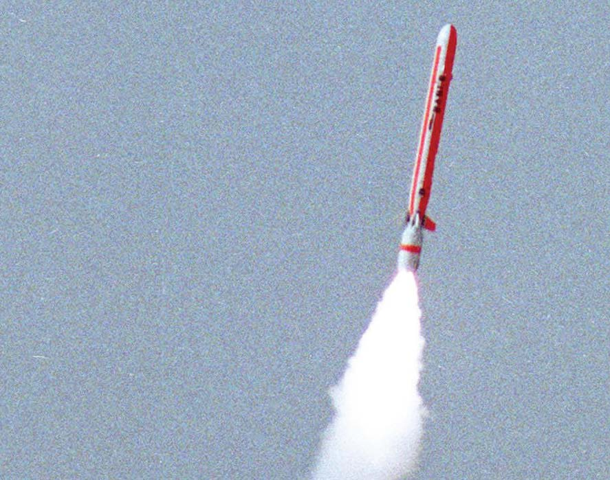 In this handout photograph released by the Inter Services Public Relations (ISPR) a Hatf VII (Babur) stealth cruise missile is launched from an undisclosed location in Pakistan. PHOTO: AFP