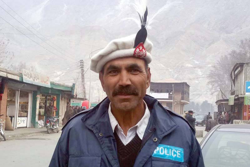 a traffic sergeant in gilgit baltistan sports the shanti khoi on tuesday photo express