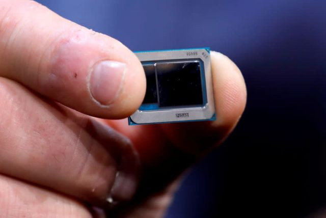 an intel tiger lake chip is displayed at an intel news conference during the 2020 ces in las vegas nevada us january 6 2020 photo reuters