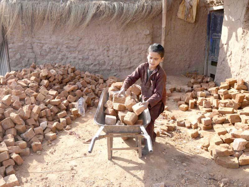 a boy hauls bricks at a slum near the capital photo inp