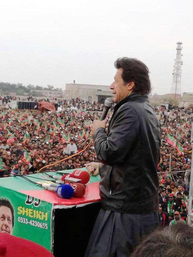 pakistan tehreek e insaf pti chairman imran khan addresses a gathering in dera ghazi khan on sunday january 15 2017 photo pti