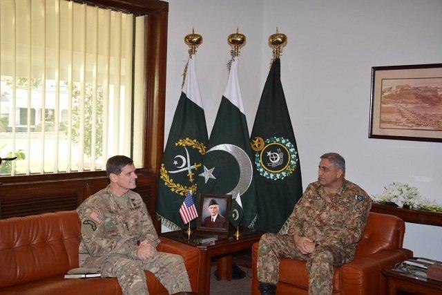 commander us central command calls on coas gen qamar javed bajwa at the ghq photo ispr