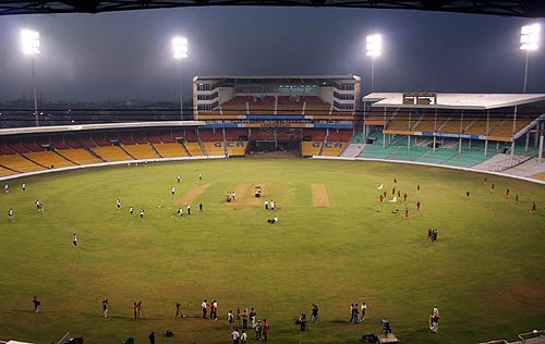the ground is on the site of the recently demolished sardar patel gujarat stadium which could hold around 50 000 spectators photo afp