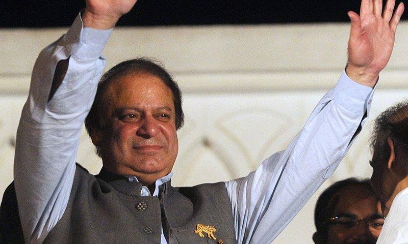 prime minister nawaz sharif gestures at supporters photo afp