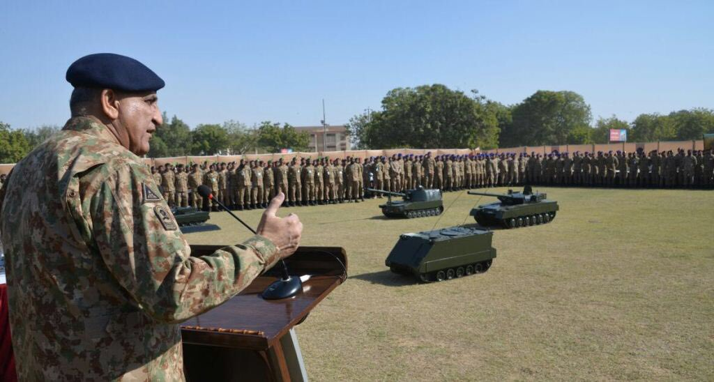 Army chief Qamar Bajwa addresses soldiers and officers at Corps headquarters in Karachi on Thursday. PHOTO: ISPR