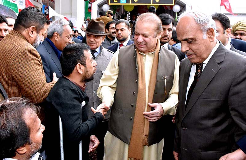 pm nawaz and cm shehbaz meet people on their arrival to inaugurate the metro bus service in multan photo inp