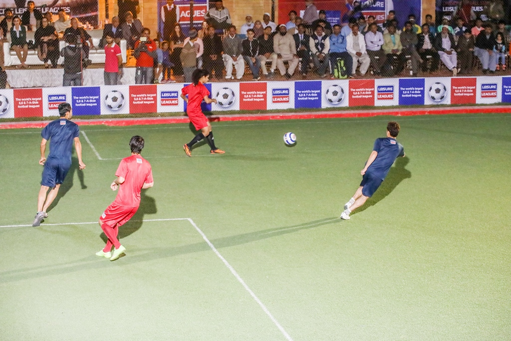 Hajra Khan makes a pass during an exhibition seven-a-side match. PHOTO COURTESY: LEISURE LEAGUES PAKISTAN