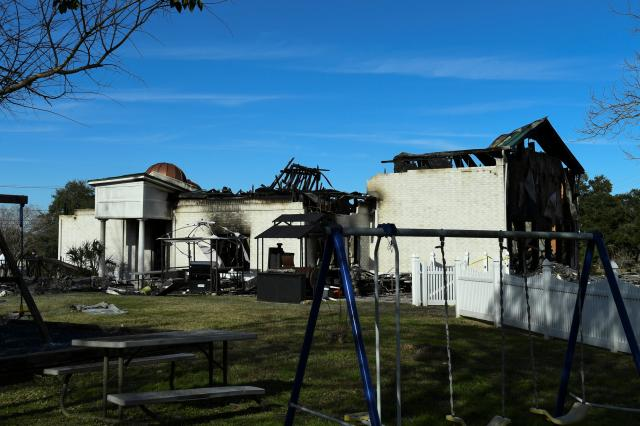 The Victoria Islamic Center mosque is seen one day after it was damaged in a fire in Victoria, Texas. PHOTO: REUTERS