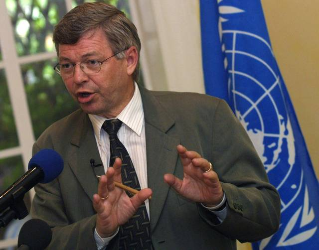 kjell magne bondevik former norway pm and president the oslo centre a human rights organisation photo afp