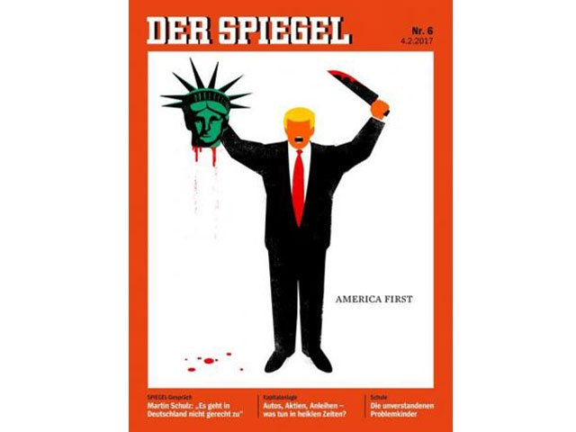 us president donald trump is depicted beheading the statue of liberty in this illustration on the cover of the latest issue of german news magazine der spiegel photo reuters