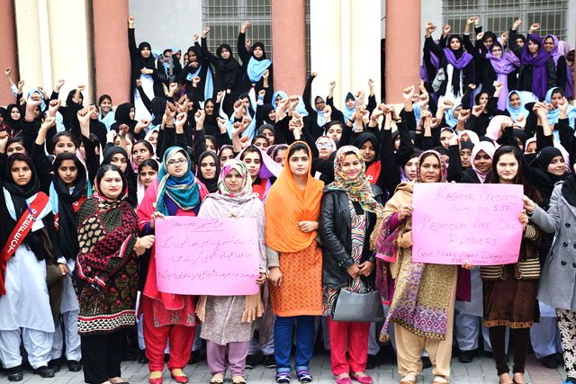 a group of students and teachers participate in a rally in association with kashmir solidarity day in sialkot on saturday february 4 2017 photo app