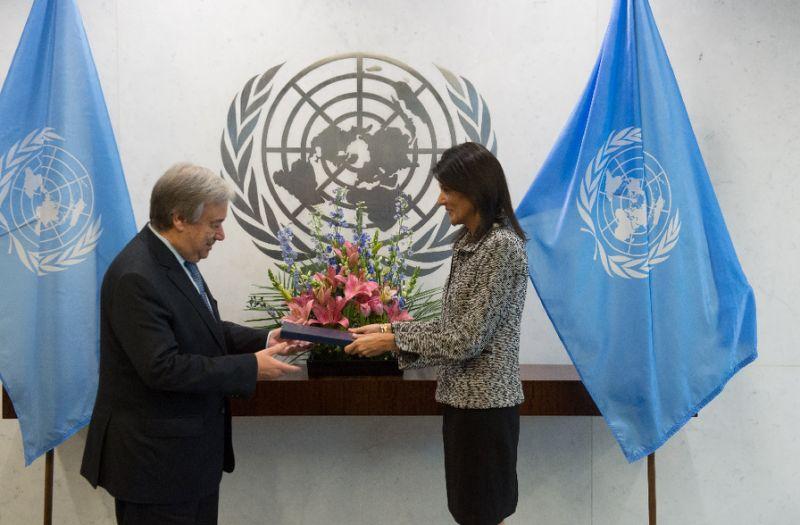 new us ambassador to the united nations nikki haley hands her credentials to un secretary general antonio guterres photo afp
