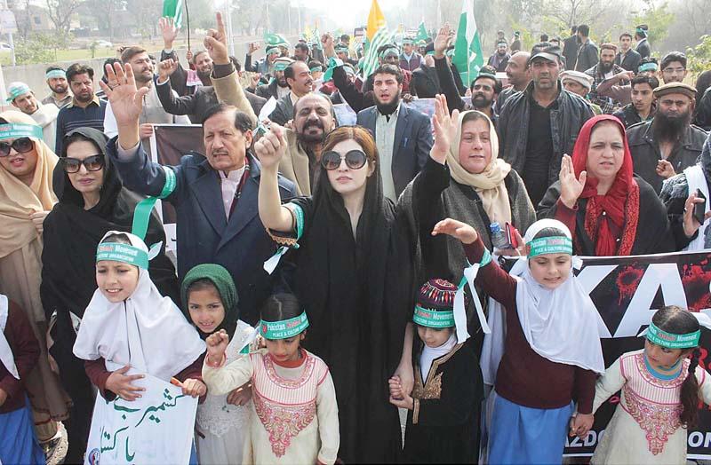 mishal malik wife of kashmiri liberation movement leader yasin malik s leads a rally marking kashmir solidarity day in islamabad photos agencies