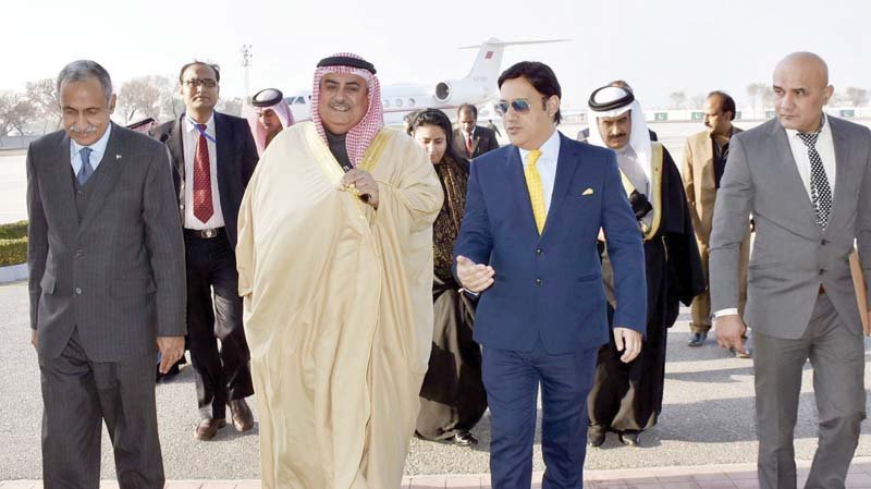 bahraini foreign minister shaikh khalid bin ahmed al khalifa being received by ambassador of pakistan javed malik additional foreign secretary and senior officials upon his arrival in islamabad photo pid