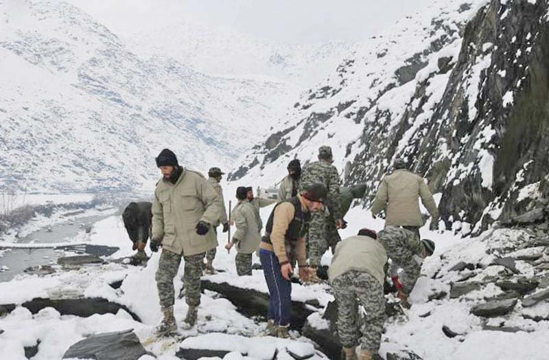 chitral scouts conduct a rescue operation in an avalanche hit area photo inp
