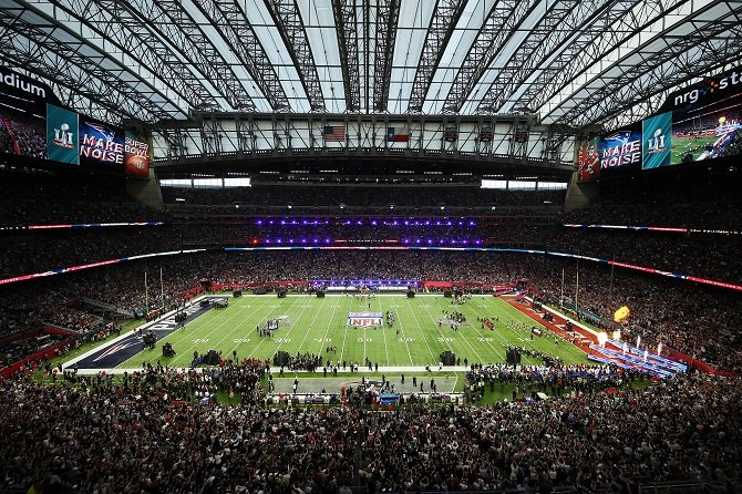 a general view as the teams take the field prior to super bowl 51 between the atlanta falcons and the new england patriots at nrg stadium on february 5 2017 in houston texas photo afp