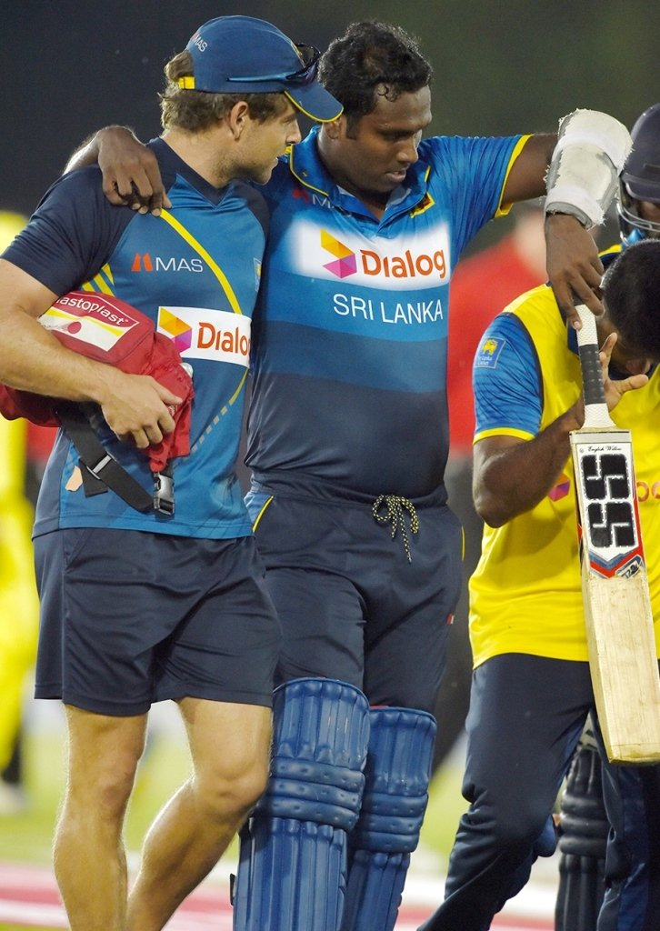 angelo mathews being helped off from the field photo afp