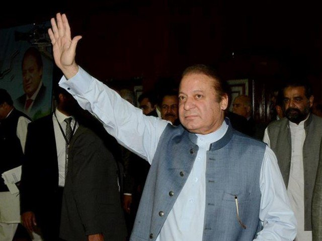 PM Nawaz gestures at supporters. PHOTO: PML-N