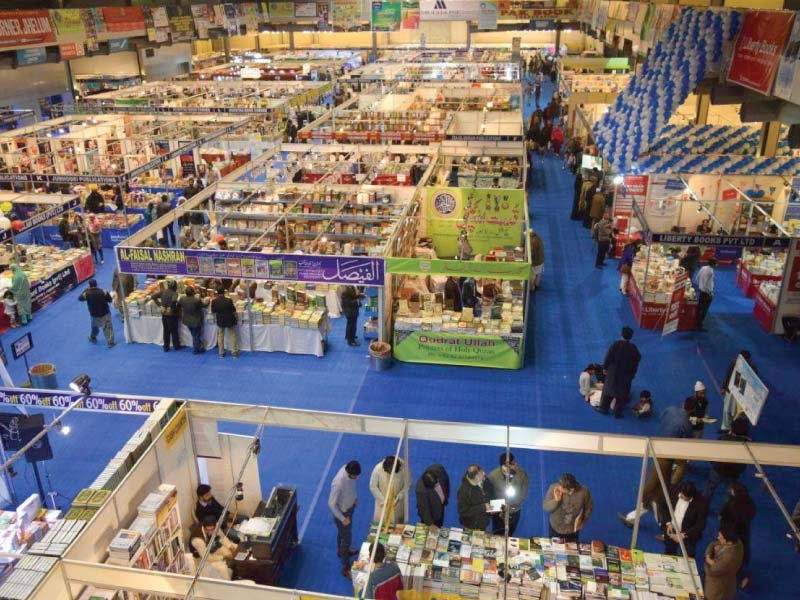 People look at books on the last day of the five-day Lahore International Book Fair, 2017. PHOTO: EXPRESS