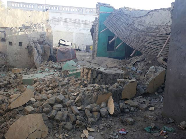 picture of a house after the earthquake in pasni area of gwadar disctrict photo express