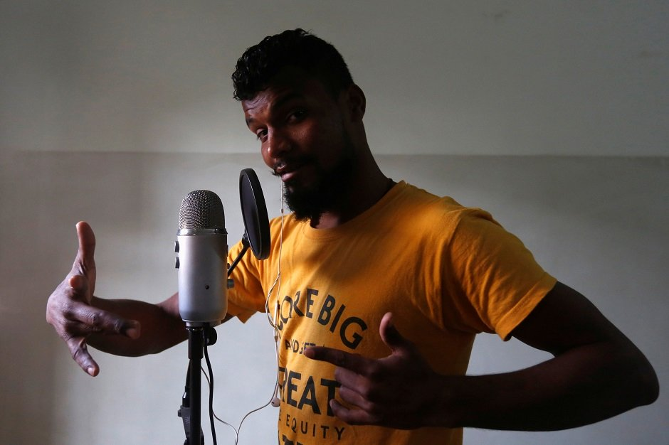 lyari underground l u g rapper slipknot denna poses for a camera during an interview with reuters in karachi photo reuters
