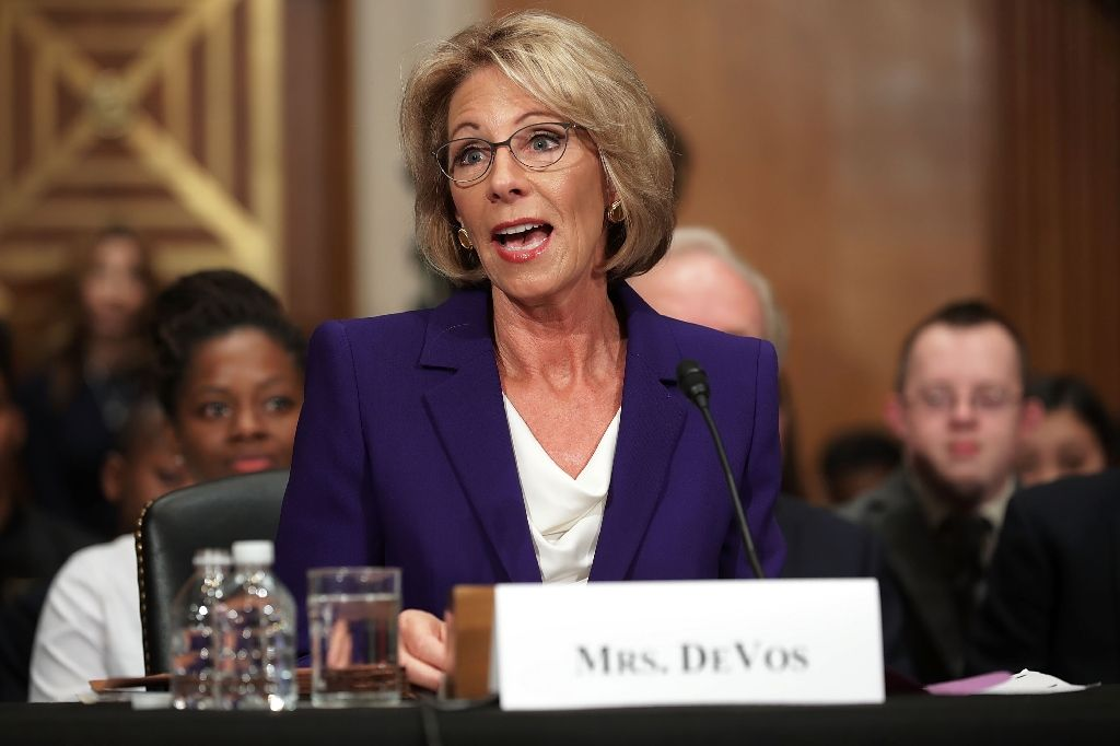 newly confirmed education secretary betsy devos is seen testifying january 17 2017 during her confirmation hearing before the senate health education labor and pensions committee photo afp