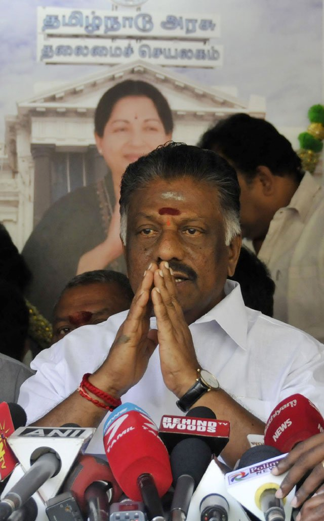 chief minister of the southern indian state of tamil nadu o paneerselvam gestures during a press conference at his home in chennai on february 8 2017 photo afp