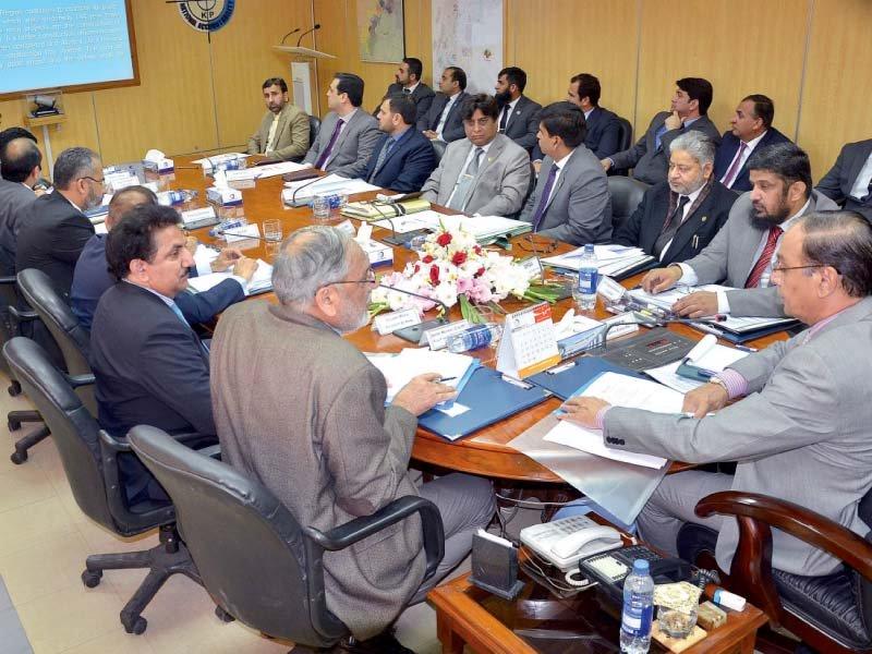 nab chairman qamar zaman chaudhry chairs a meeting at nab k p regional bureau photo express